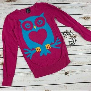 Faded Glory Sweater Pink Size XL 14/16 Owl Heart